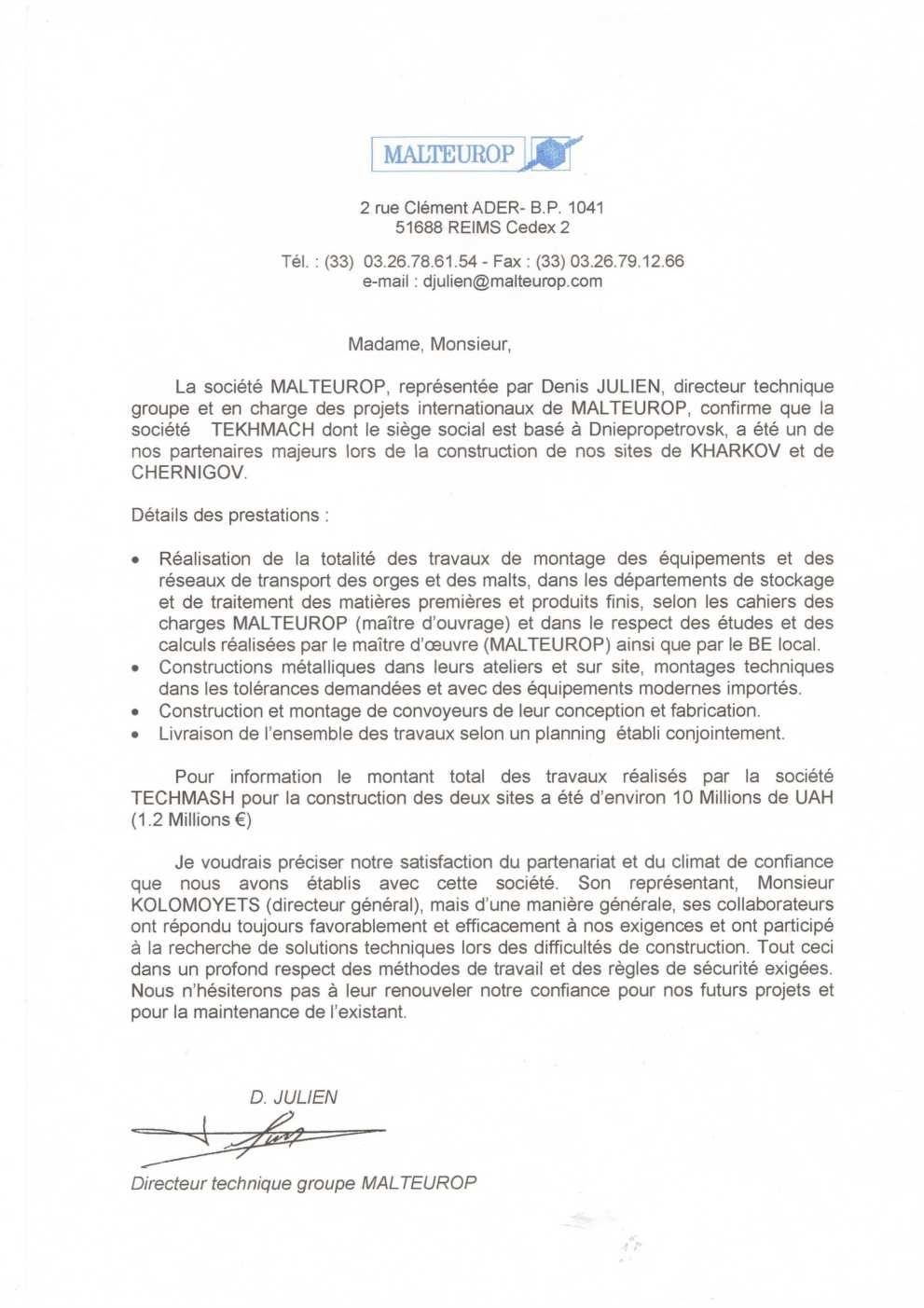 Reference letter of Malteurop